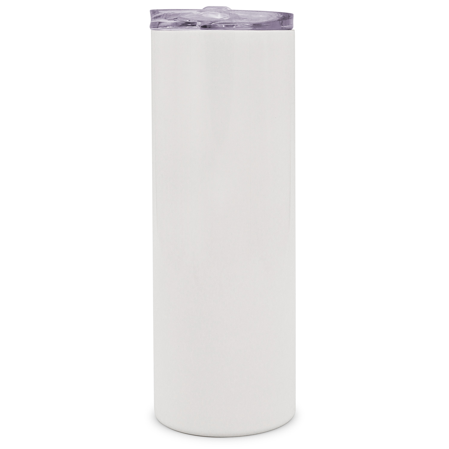 25pcs 20oz Taperless Sublimation Blank Skinny Tumbler Stainless Steel Insulated Water Bottle Double Wall Vacuum Travel Cup With Sealed Lid and Straw (White)