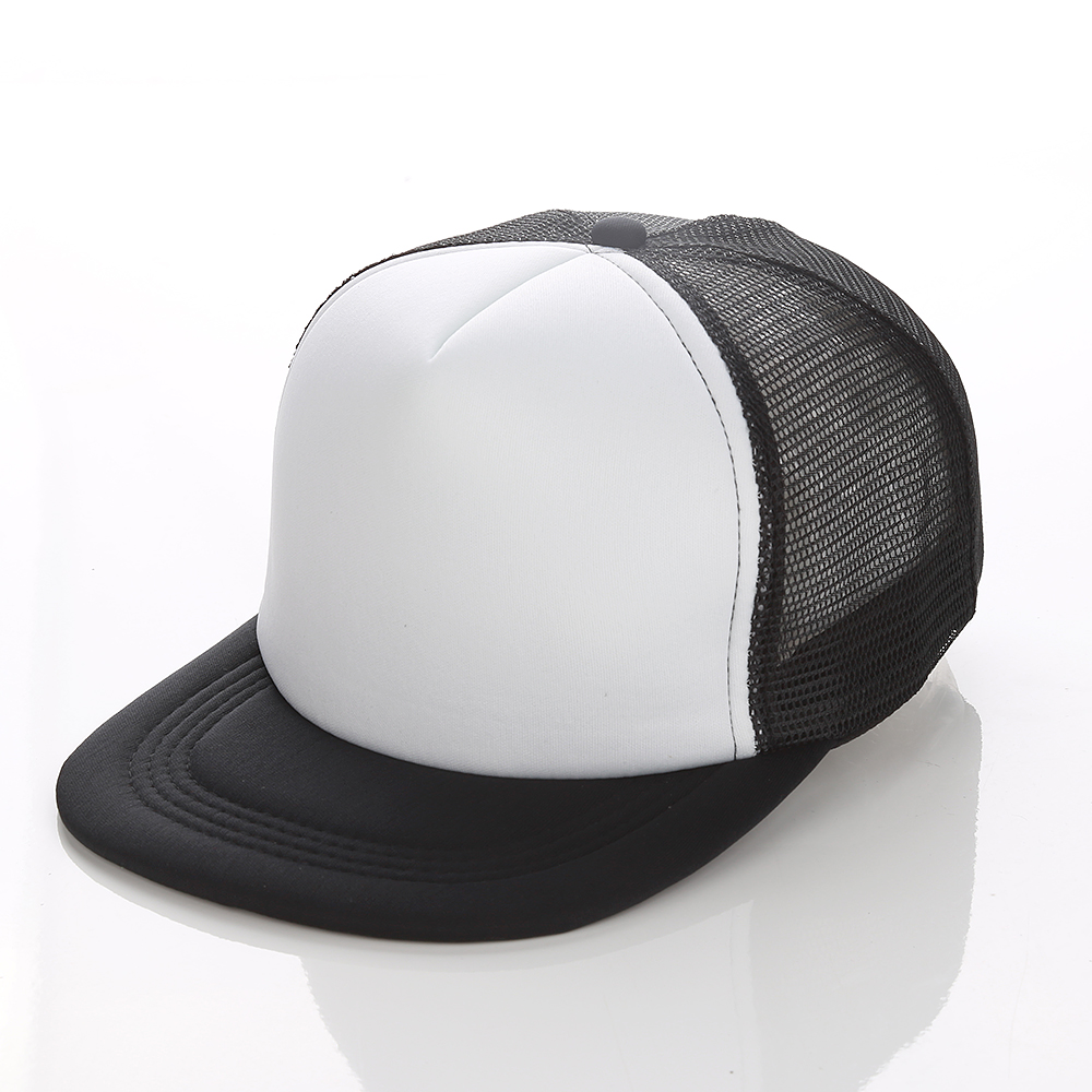 10pcs Flat Billed Trucker Hat Polyester Mesh Cap for Sublimation Printing