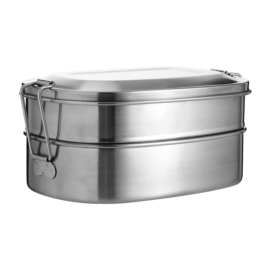 Stainless Steel Lunch Box Bento Container 2 Tier