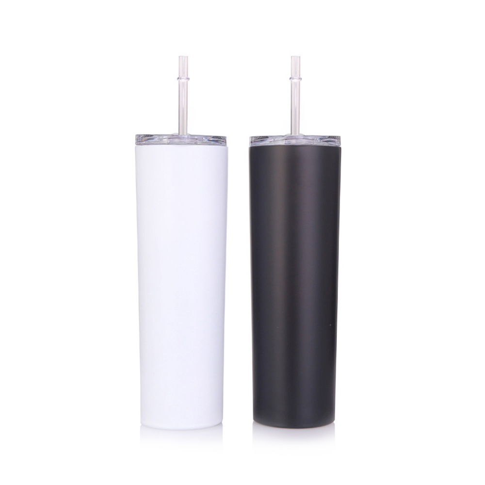 25pcs 20oz Black Straight cup Stainless Steel Insulated Water Bottle Double Wall Vacuum Travel Cup With Sealed Lid