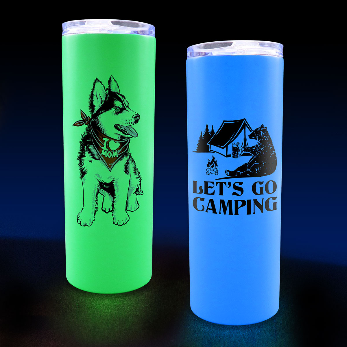 CALCA 25pcs of Set 20oz Sublimation Blanks Straight Skinny Tumbler Glow In The Dark White to Green / Blue with Closed Lid and Straw