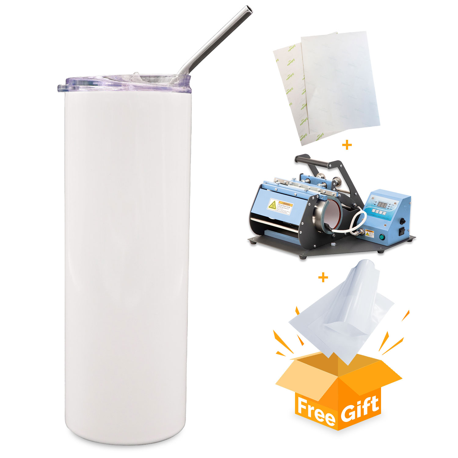 500 Pack 20oz Straight White Sublimation Tumbler Blanks w/ Straw and Flip Lid, Vacuum Insulated Double Layer 304 Stainless Steel Water Bottle
