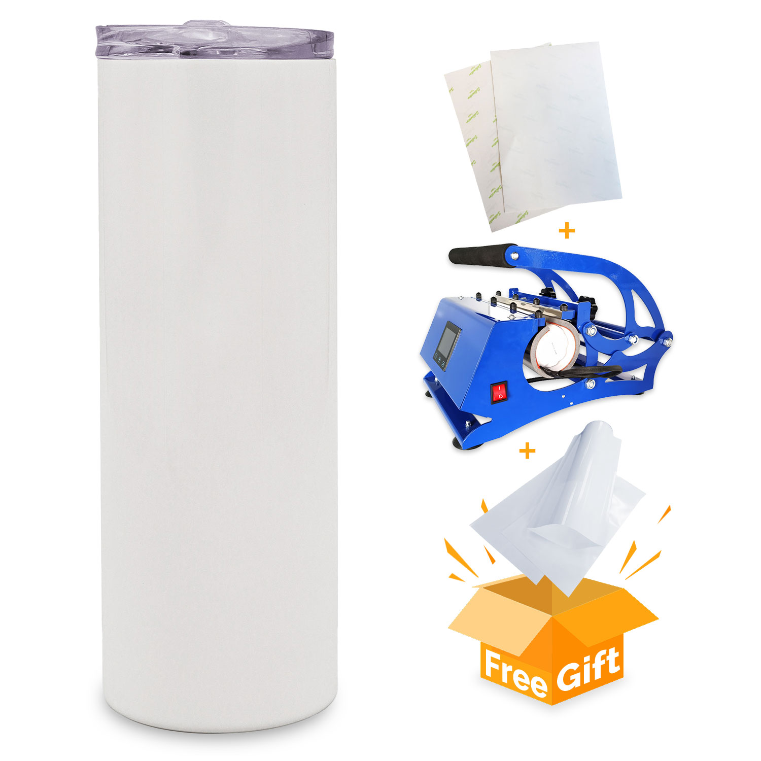 US Stock-500pcs 20oz Taperless Sublimation Blank Skinny Tumbler Stainless Steel Insulated Water Bottle Double Wall Vacuum Travel Cup With Sealed Lid and Straw (White)