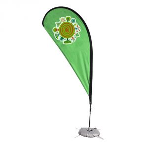 9.8 ft Teardrop Banner with Cross Water Bag Base (Single Sided Printing)