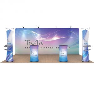 20ft Straight Portable Fabric Tension Exhibition Display Kits with Custom Graphic