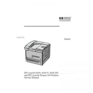 Hp LaserJet 8000 8000N 8000DN Printer English Service Manual Maintenance Manual