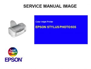 EPSON Stylus Photo 935 Printer English Service Manual