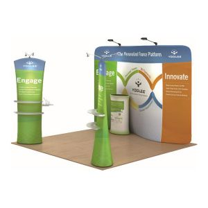 10ft Serpentine Ensemble Portable Fabric Tension Trade Show Display with Custom Graphic