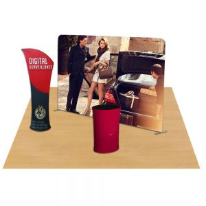 10ft Straight Portable Fabric Tension Trade Show Display with Custom Graphic