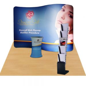 10ft Serpentine Portable Fabric Tension Exhibition Display with Custom Graphic