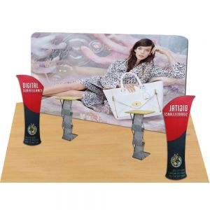 20ft Straight Portable Fabric Tension Trade Show Display Display with Custom Graphic