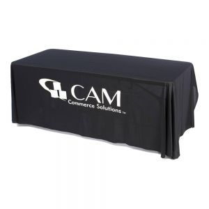 6ft(3) Full Length Sides Round Corner Table Throws with Custom  Logo Imprint On Black