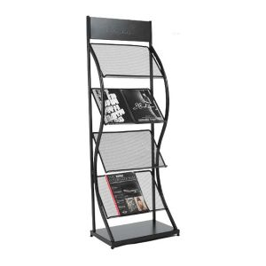 K Style Iron Literature Display Rack With 4 Pockets