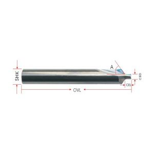 2 Straight Flutes Cutter with Angle for Mobile Phone Panel
