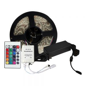 Waterproof RGB Color Changing LED Strip Light Kit 16.4ft LED Light Strip(300 SMD 5050)+Adaptor+Remote 5m/roll