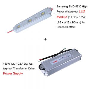 100pcs Samsung SMD 5630 High Power Waterproof LED Module + 1pc 150W 12V DC Power Supply