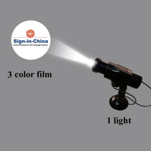 High Quality 12W LED Rotating Gobo Advertising Logo Projector Light (Three Color), 1 Light + 1 Three Colors Film