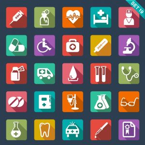 A Set of 25 Unique Icons with Medical Themes (Free Download Illustrations)