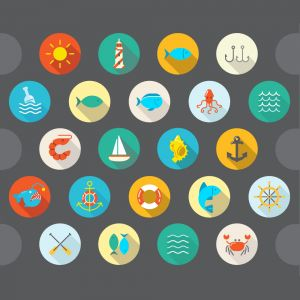 Awesome 22 Flat Vector Sea Vector Flat Icons With Long Shadow (Free Download Illustrations)