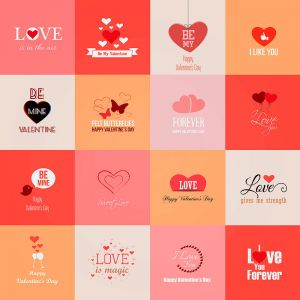 Pink Love Signs Set Vector Illustrations (Free Download Illustrations)
