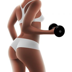Bodybuilding Dumbbell Woman Three-dimensional Realistic Vector Poster (Free Download Illustrations)