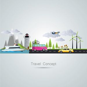 Travel Concept Flat Vector Poster (Free Download Illustrations)
