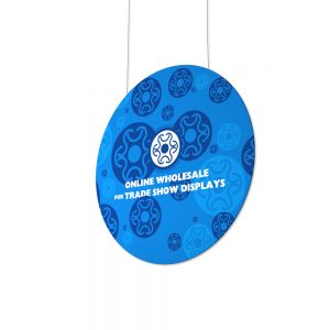 Vertical Flat Disc Shape Hanging Banner with Graphic