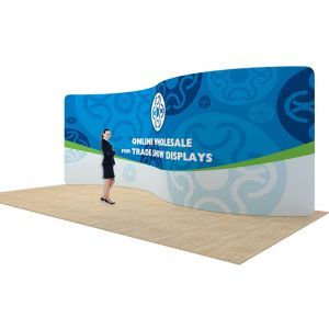 20ft Serpentine Back Wall Display with Custom Fabric Graphic (Graphic Included/Single Sided)