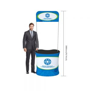 Curved Fabric Tension Promotion Counter with Custom Graphic