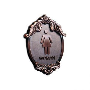 Antique-Style Female, Toilet, Restroom Signs