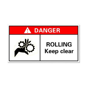Waterproof Danger Sign-Rooling Keep Clear, Safety Sticker 60x40mm