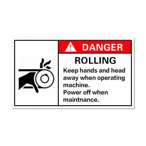 Waterproof Danger Sign-Rooling, Keep Hands and Head Away When Operating Machine, Safety Sticker 100x50mm
