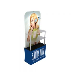 "78"" Height Back wall Display Rack with Custom Prnting Dye-Sublimation Graphic and Acrylic Layer Board"