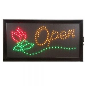 "Bright Animated LED Neon OPEN Flower Sign for Flower Store 19"" x 10"""