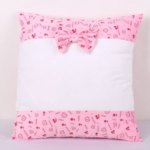 Sublimation Blank Pillow Case with Two Sides Bear Pattern and Bowknot Cartoon Fashion Cushion Cover, 20pcs/package
