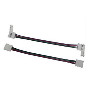 10pcs Connector for RGB LED Strip 8mm or 10mm; 2 Clips + 1 Cable 15cm