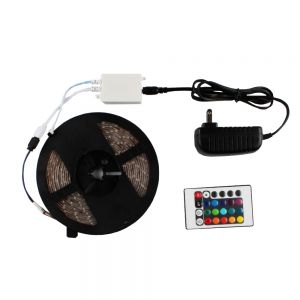 Waterproof RGB Color Chasing LED Strip Light Kit 16.4ft LED Light Strip(270 SMD 3528)+adaptor+Remote 5m/roll