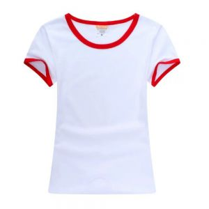Screen Printing Blank Combed Cotton T-Shirt with Rim Colorful for Women,10pcs/pack