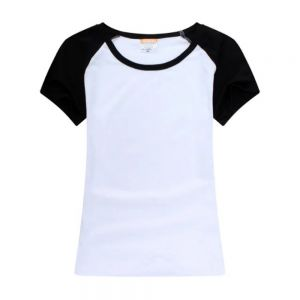 Screen Printing Blank Raglan Combed Cotton T-Shirt with Colorful Sleeve for Women,10pcs/pack