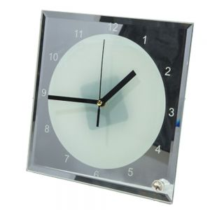 """US Stock, 7.8"""" x 7.8"""" Sublimation Blank Mirror Edge Glass Photo Frame with Clock"""