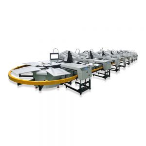 18 Color 60 Station Oval Evolution Automatic Screen Printing Press with Dryer