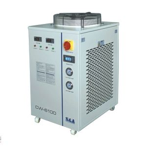 US Stock-S&A CW-6100BTH Industrial Water Chiller Dual Temp. and Dual Pump  with Heating Function, for Single 300W-1000W Fiber Laser Cooling, 1.72HP, AC 1P 220V, 60Hz