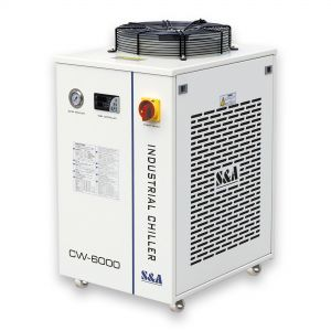 Refurbished US Stock, S&A CW-6000DN Industrial Water Chiller for 100W Solid-state Laser, 22KW CNC Spindle, 30W-300W Fiber Laser Cooling, 1.52HP, AC 1P 110V, 60Hz