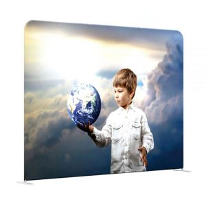 US Stock-8ft High Quality Portable Tension Fabric Exhibition Stand Backdrop Advertising Wall Banner (Graphic Included / Double Sided)