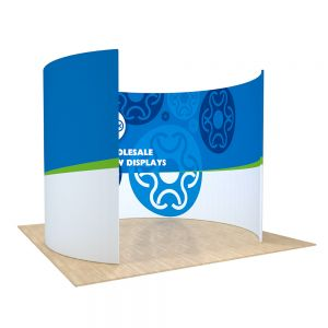 10ft O Shape Back Wall Display with Custom Single Sided Fabric Graphic