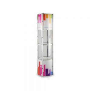 """81"""" Round Portable Aluminum Spiral Tower Display Case with Shelves, Top Light and Custom Panels"""