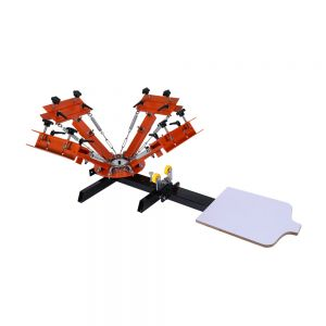 4 Color 1 Station Silk Screen Printing Machine 4-1 Press DIY T-Shirt Printing with Easy Adjusting System