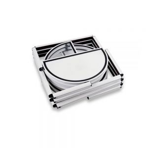 """81.1"""" Semi-Circle Portable Aluminum Spiral Tower Display Case with Shelves, Top light and Clear Panels"""
