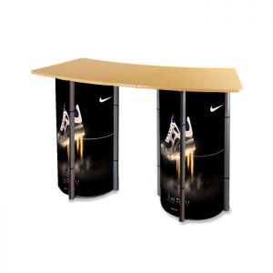 """55.1"""" Round Portable Aluminum Spiral Tower Display Case Counter with Shelves and Custom Panels"""