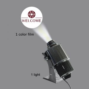BEL Stock 40W Outdoor Black Desktop or Mountable LED Gobo Projector Advertising Logo Light (with Custom 1 Color Rotating Glass Gobos)